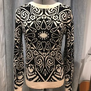 Sweaters - Black and cream cotton sweater
